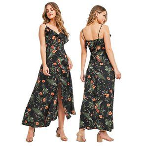 Tropical Floral Maxi Dress with Buttons